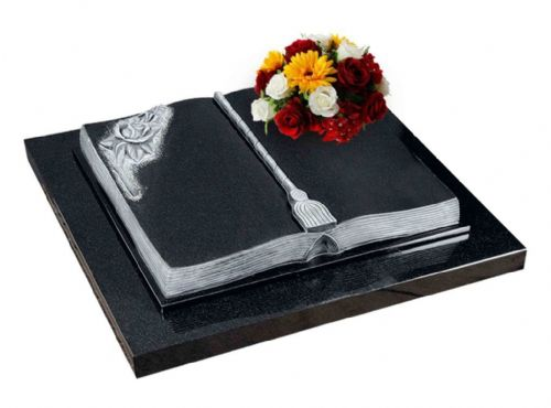 A beautiful cremation tablet with a carved book and rose feature. BRY 141